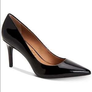 Calvin Klein Gayle Pointed-Toe Pumps Patent Black